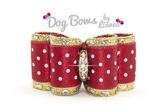 Red Satin Swiss Dot