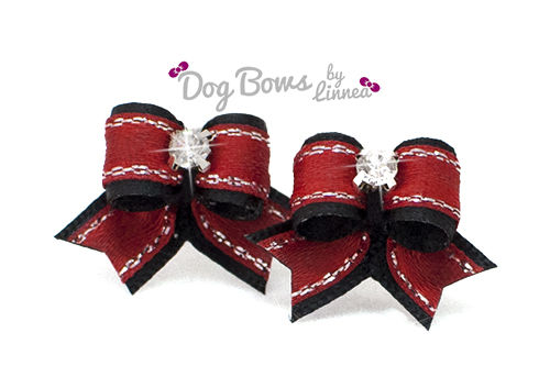 Black Satin w/ Red Silver Edge Maltese Pair